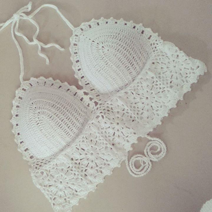 cropped em croche cropped com bojo Swimwear Styles